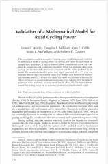 Validation of a mathematical model for road cycling.pdf
