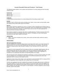 AR Policy Procedure Manual - Cash Receipts.doc